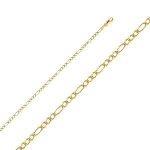 "14K Yellow 2.7mm  Figaro 3+1 Pave bracelet- 7"""